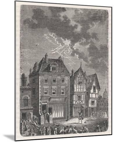 Benjamin Franklin's First Lightning Conductor on Benjamin West's House- Lebreton-Mounted Giclee Print
