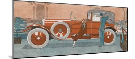 An Elegant Couple and Their Smart New Renault Car-Jean Grangier-Mounted Giclee Print
