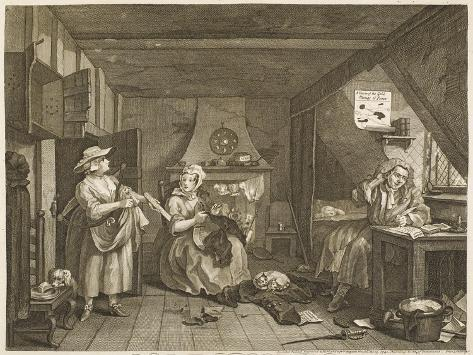 The Distressed Poet a Poor Poet Wonders What to Write-William Hogarth-Stretched Canvas Print