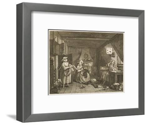 The Distressed Poet a Poor Poet Wonders What to Write-William Hogarth-Framed Art Print