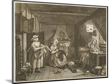 The Distressed Poet a Poor Poet Wonders What to Write-William Hogarth-Mounted Giclee Print