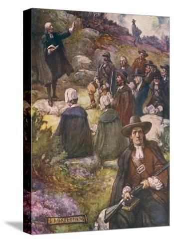 Scottish Presbyterians Worship in Defiance of Conventicle Acts-J.r. Skelton-Stretched Canvas Print
