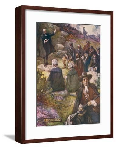 Scottish Presbyterians Worship in Defiance of Conventicle Acts-J.r. Skelton-Framed Art Print