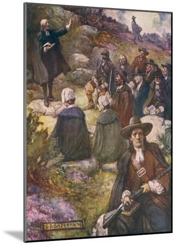 Scottish Presbyterians Worship in Defiance of Conventicle Acts-J.r. Skelton-Mounted Giclee Print