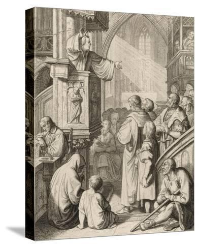 Luther Preaching-Gustav Konig-Stretched Canvas Print