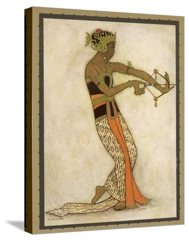 Javanese Dancer Drawing a Bow in a Highly Stylized Movement-Tyra Kleen-Stretched Canvas Print