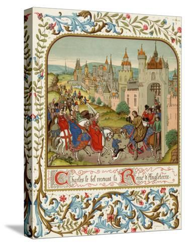 Isabella Queen of Edward II Flees to France and is Received by Charles le Bel- Ronjat-Stretched Canvas Print