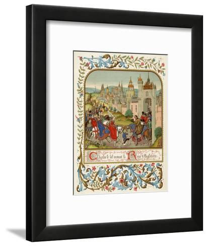 Isabella Queen of Edward II Flees to France and is Received by Charles le Bel- Ronjat-Framed Art Print