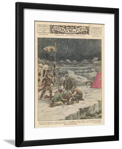 """Umberto Nobile Flew the Airship """"Norge"""" Over the North Pole in 1926-Alfredo Ortelli-Framed Art Print"""