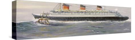French Transatlantic Liner-Albert Sebille-Stretched Canvas Print
