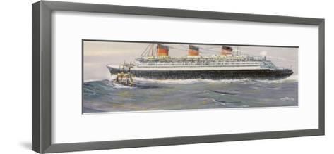 French Transatlantic Liner-Albert Sebille-Framed Art Print
