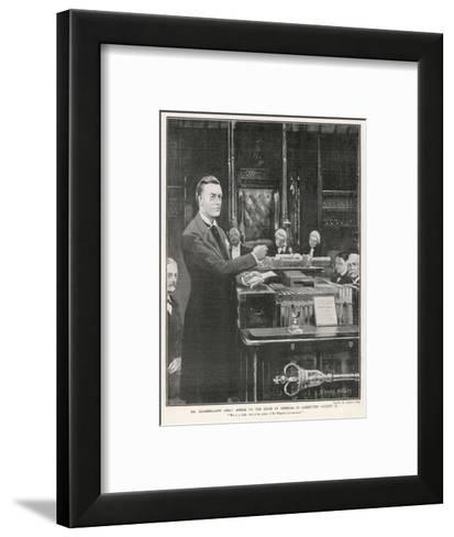 Joseph Chamberlain Liberal Politician Speaking in the House of Commons on 2 August 1901-Sidney Paget-Framed Art Print