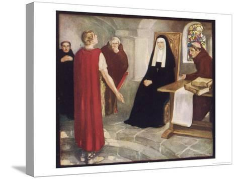 Saint Hilda of Whitby Anglo-Saxon Abbess Receiving a Visit from Caedmon-Stephen Reid-Stretched Canvas Print