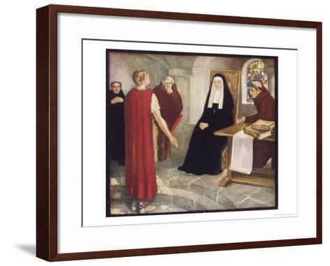 Saint Hilda of Whitby Anglo-Saxon Abbess Receiving a Visit from Caedmon-Stephen Reid-Framed Art Print