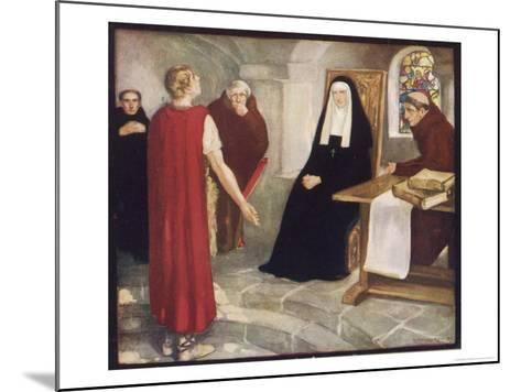 Saint Hilda of Whitby Anglo-Saxon Abbess Receiving a Visit from Caedmon-Stephen Reid-Mounted Giclee Print