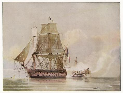 Naval Action off Candia Engagement Between the British Warship Leander and the French Le Genereux-C.h. Seaforth-Stretched Canvas Print