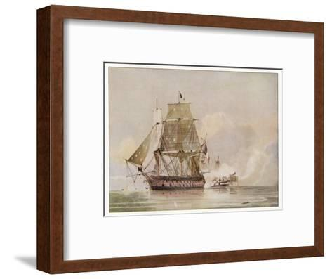 Naval Action off Candia Engagement Between the British Warship Leander and the French Le Genereux-C.h. Seaforth-Framed Art Print