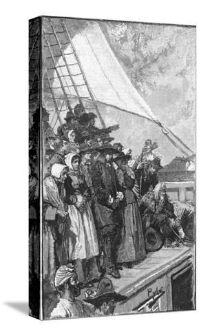 William Penn and Other Quakers Sail to the New World in the Welcome-Howard Pyle-Stretched Canvas Print