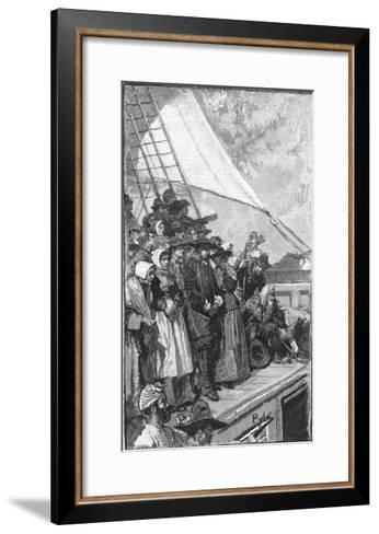 William Penn and Other Quakers Sail to the New World in the Welcome-Howard Pyle-Framed Art Print