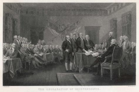 The Signing of the Declaration of Independence in Philadelphia-W. Greatbach-Stretched Canvas Print