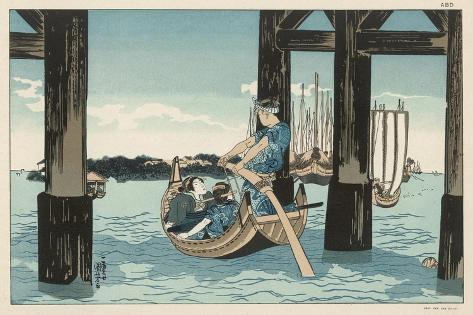 Japanese Boating Party, a Boatman Carries Two Ladies to an Island-Kuniyoshi Utagawa-Stretched Canvas Print