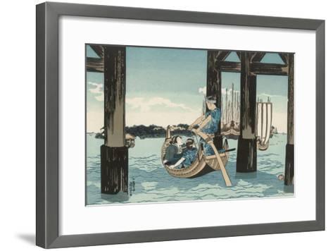 Japanese Boating Party, a Boatman Carries Two Ladies to an Island-Kuniyoshi Utagawa-Framed Art Print