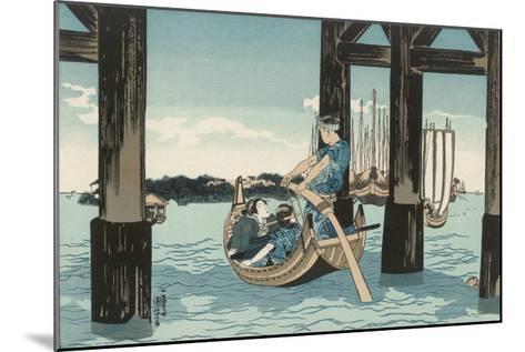 Japanese Boating Party, a Boatman Carries Two Ladies to an Island-Kuniyoshi Utagawa-Mounted Giclee Print