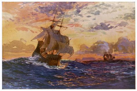 Vasco Da Gama's Ships off the Coast of Africa on Their Way to the Indies-O. Rosenvinge-Stretched Canvas Print