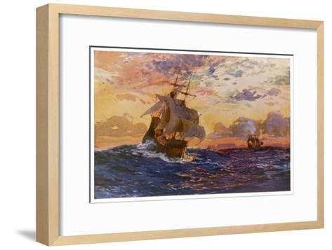 Vasco Da Gama's Ships off the Coast of Africa on Their Way to the Indies-O. Rosenvinge-Framed Art Print