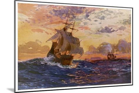 Vasco Da Gama's Ships off the Coast of Africa on Their Way to the Indies-O. Rosenvinge-Mounted Giclee Print