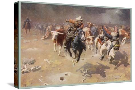 Cowboys Trying to Check a Cattle Stampede-W.r. Leigh-Stretched Canvas Print