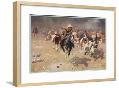 Cowboys Trying to Check a Cattle Stampede-W.r. Leigh-Framed Art Print