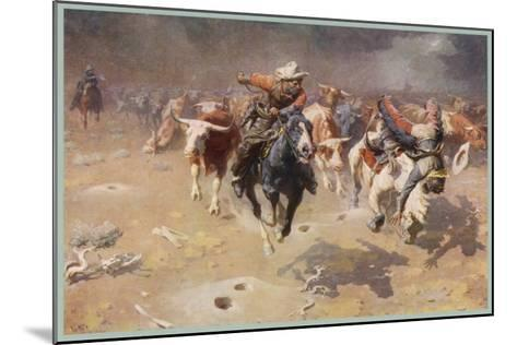 Cowboys Trying to Check a Cattle Stampede-W.r. Leigh-Mounted Giclee Print