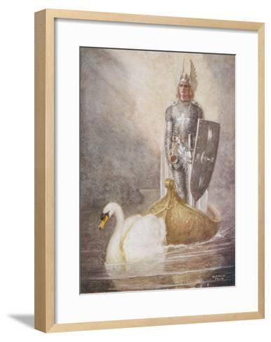 Lohengrin Arrives in a Boat Drawn by Elsa's Brother Godfrey-Norman Price-Framed Art Print