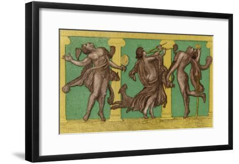 Two Male Dancers More or Less Naked Dance to the Sound of Pipes Played by a Third Exciting the Dog-Edouard Leon-Framed Art Print