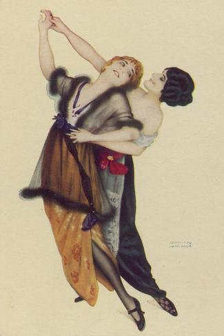 Two Stylishly Dressed Ladies Dance the Tango Stylishly Together-Ernst Ludwig Kirchner-Stretched Canvas Print