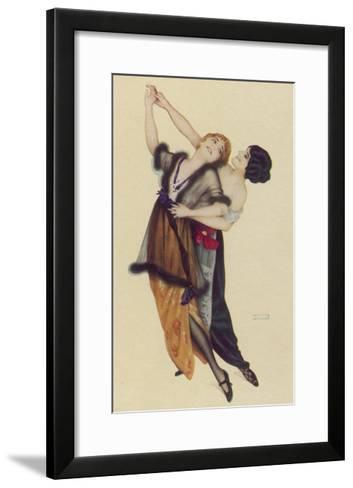 Two Stylishly Dressed Ladies Dance the Tango Stylishly Together-Ernst Ludwig Kirchner-Framed Art Print