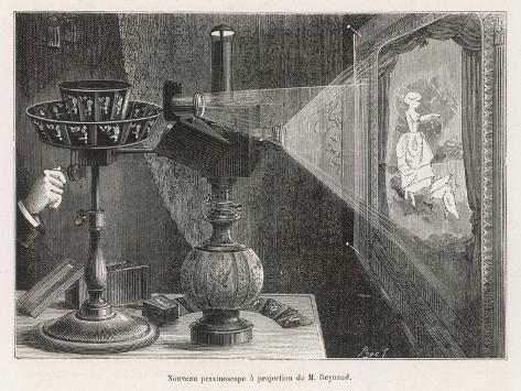 Reynaud's Praxinoscope Adapted for Projection onto a Screen- Poyet-Stretched Canvas Print