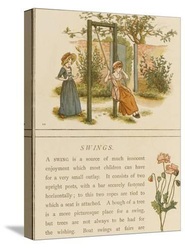 Watched by a Companion a Girl Swings in a Garden-Kate Greenaway-Stretched Canvas Print
