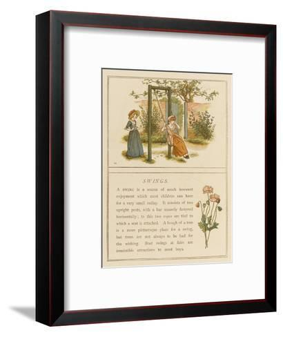 Watched by a Companion a Girl Swings in a Garden-Kate Greenaway-Framed Art Print
