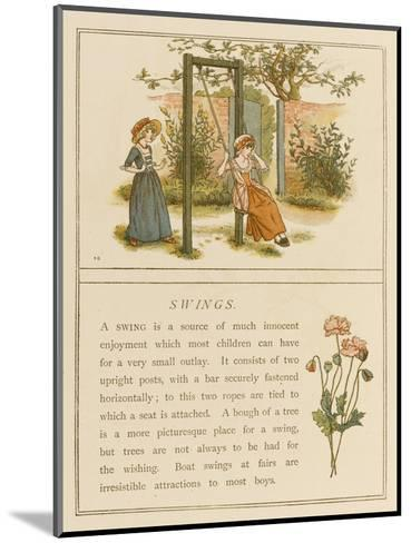 Watched by a Companion a Girl Swings in a Garden-Kate Greenaway-Mounted Giclee Print