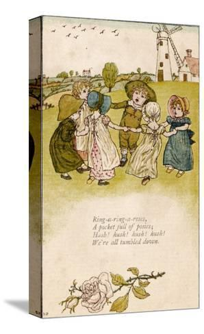 Six Children Dance in a Circle to Play Ring O' Roses-Kate Greenaway-Stretched Canvas Print