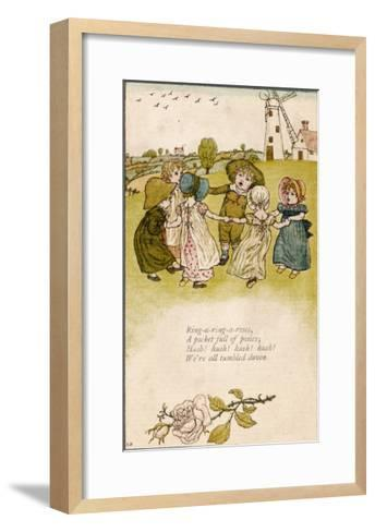 Six Children Dance in a Circle to Play Ring O' Roses-Kate Greenaway-Framed Art Print