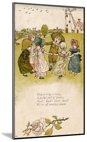 Six Children Dance in a Circle to Play Ring O' Roses-Kate Greenaway-Mounted Giclee Print