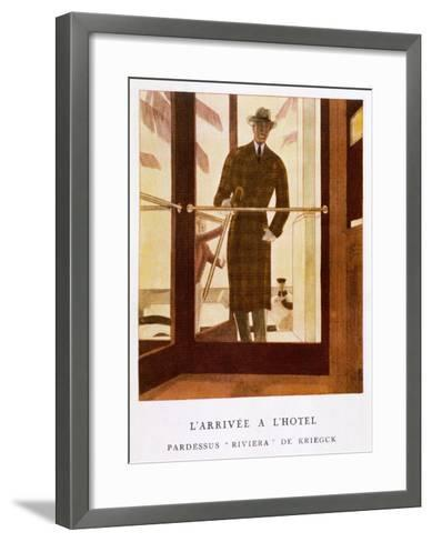 Stylish Double-Breasted Brown Checked Coat by Lus and Befue, Perfect for the Riviera!-R. Rejelan-Framed Art Print