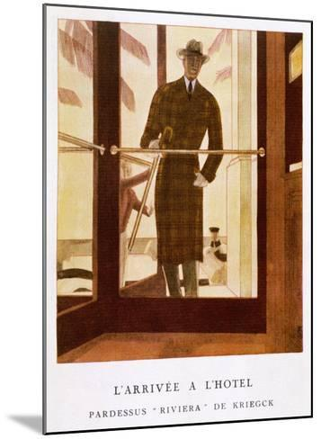 Stylish Double-Breasted Brown Checked Coat by Lus and Befue, Perfect for the Riviera!-R. Rejelan-Mounted Giclee Print