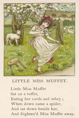 She Upsets Her Stool When She Finds a, Really Rather Small, Spider Sharing It with Her-Kate Greenaway-Stretched Canvas Print