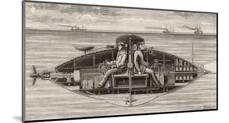 Designed by Claude Goubet in 1885: The First Electrically Powered Submarine- Poyet-Mounted Giclee Print