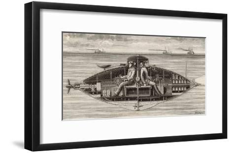 Designed by Claude Goubet in 1885: The First Electrically Powered Submarine- Poyet-Framed Art Print