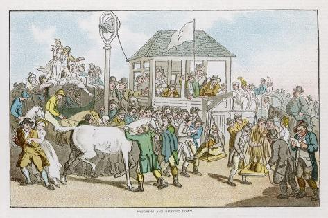 Weighing the Jockeys and Rubbing Down the Horses Before a Race-Thomas Rowlandson-Stretched Canvas Print